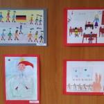 """Az én németórám"" című rajzverseny kiállított munkái / Die ausgestellten Zeichnungen des Malwettbewerbs  ""Meine Deutschstunde"""
