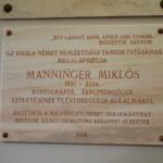 Emléktábla Manninger Miklós tiszteletére / Gedenktafel zum Gedenken an Nikolaus Manninger