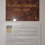 Emléktáblát avattak a tarjáni tájházban Klinger Lőrincné emlékére