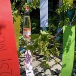 Auf die Krone des Maibaumes kamen auf laminierten Papierschleifen die Namen der Mädchen, der Lehrerinnen und der Angestellten